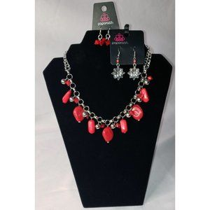 Red faux stone necklace and earrings
